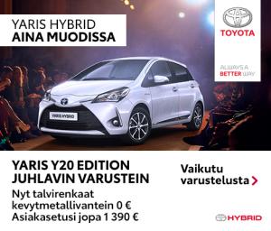 Vuodet ja vuosikymmenet vierivät, mutta Yarisin suosio säilyy. Hyvä hinta-laatusuhde, käytännöllisyys ja ajamisen hauskuus kun eivät koskaan mene pois muodista. Yaris Y20 Edition -juhlamallissa mm. Y20 Edition -erikoisverhoilu ja ulkopuolen koristeosat, Toyota Safety Sense -turvallisuusvarusteet, kosketusnäytöllinen mediakeskus navigoinnilla, peruutuskamera ja sadetunnistin. Lisäksi nyt kaikkiin varastossa oleviin Yaris-malleihin talvirenkaat kevytmetallivantein 0 €. Asiakasetusi jopa 1390 €.